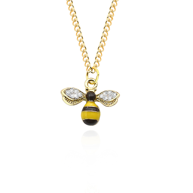 DIY Trendy Animal Necklace For Women Rhinestone Bee Pendants Honeybee Necklaces&