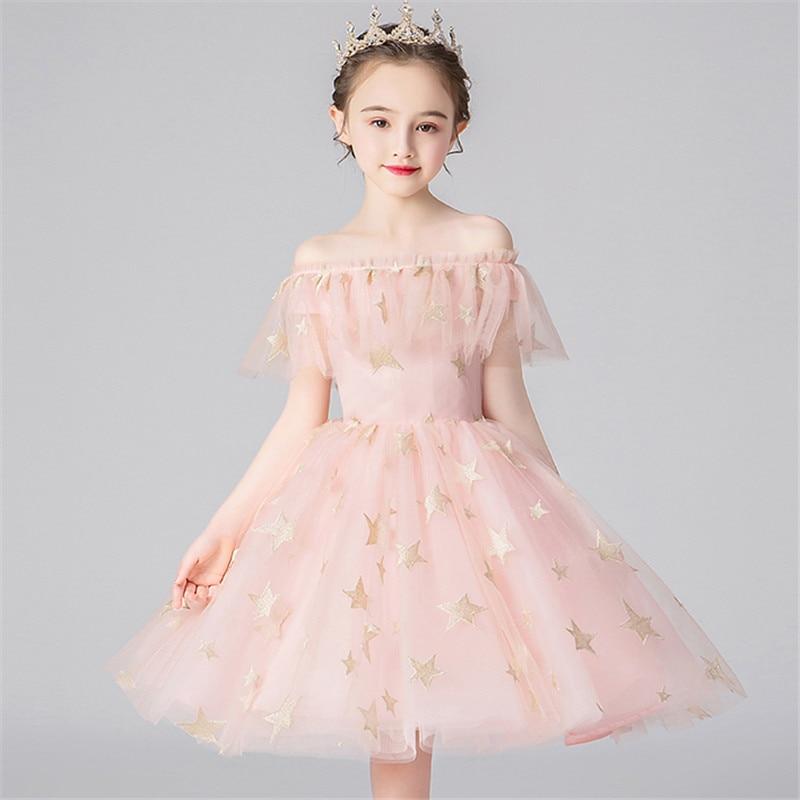 Baby Infant Sweet Pink Color Elegant Birthday Model Show Catwalk Host Party Princess Dress Little Girls Kids Evening Party Dress
