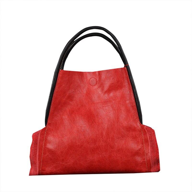 Nesitu High Quality Fashion Vintage Blue Black Red Vegatable Tanned Genuine Leather Cute Women Handbags for