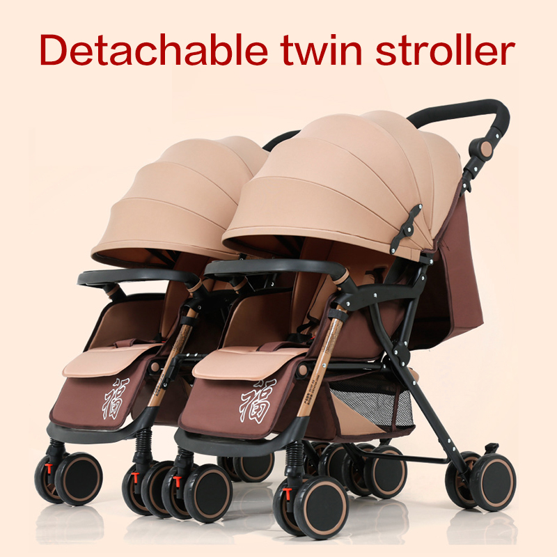 Twin baby stroller detachable can sit reclining lightweight four-wheeled cart do