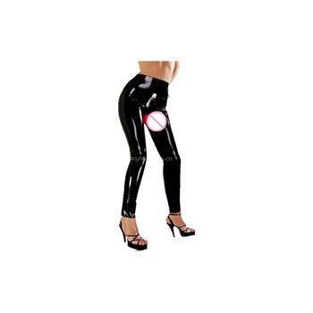 Latex Rubber Women Sexy Slim Hip High Waist Pants Trousers Size XXS-XXL