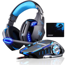 EACH G2000 Computer Stereo Gaming Headphones Deep Bass Game Earphone Headset with Mic LED Light+Gaming Mouse+Gaming Mouse Pad