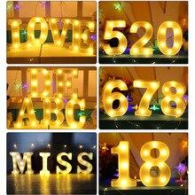 Креативный 3D буквенный номер светодиодный светильник знак алфавита теплый светильник Крытый настенный подвесной Ночная лампа, украшение подарок на день Святого Валентина