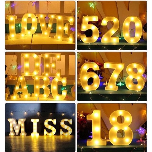 Creative 3D מכתב מספר LED אור האלפבית סימן חם אור מקורה קיר תליית לילה מנורת קישוט חג האהבה מתנה