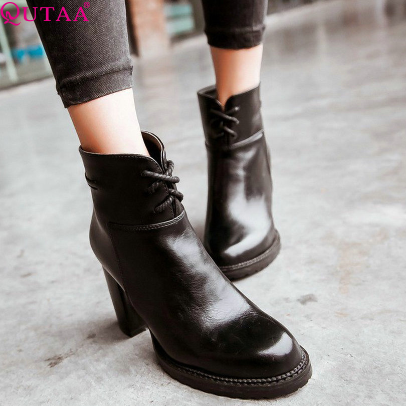 ФОТО QUTAA Women Ankle Boots Autumn New Spring Winter Fashion PU Leather Ladies Shoes Size 34-43