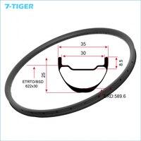 7 TIGER 29er Tubeless Carbon MTB Rims 35mm Width 25mm Depth Mountain Bike Carbon Rim Custom