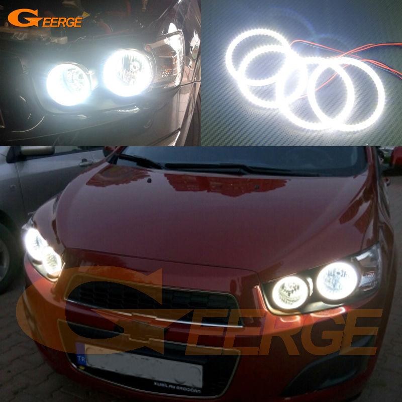 For Chevrolet AVEO Sonic T300 2011 2012 2013 2014 Excellent angel eyes Ultra bright illumination smd led Angel Eyes kit