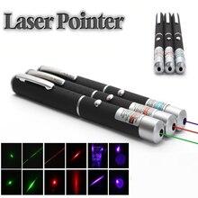 สีแดง/สีฟ้า/สีเขียวเลเซอร์ Pointer ปากกาเลเซอร์การสอน Presenter คานไฟสูงการล่าสัตว์ Lazer Bore Sight อุปกรณ์ฟรี