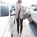 2016 Nova Marca de Moda Senhora Falso Casaco de Pele de Alta Qualidade Mais tamanho S-XLWinter Branco Quente Elegante Outwear Mulheres de Pele De Raposa do Revestimento do Revestimento