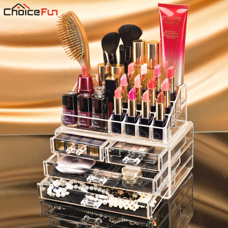 CHOICEFUN Transparent Plastic Home Drawer Desk Desktop Storage Box Organiser Clear Acrylic Makeup Make Up Organizer For Cosmetic