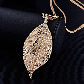 Statement Necklace Gold Silver Plated Long Layered Chain Necklace Metal Leaf Pendants Gifts For Women Necklaces Jewelry bijoux
