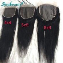 Rosabeauty-extensiones de pelo con encaje para mujer, accesorio capilar liso de 6x6, 5x5, 4x4, HD, virgen, de bebé, medio/gratis/3 piezas, Envío Gratis