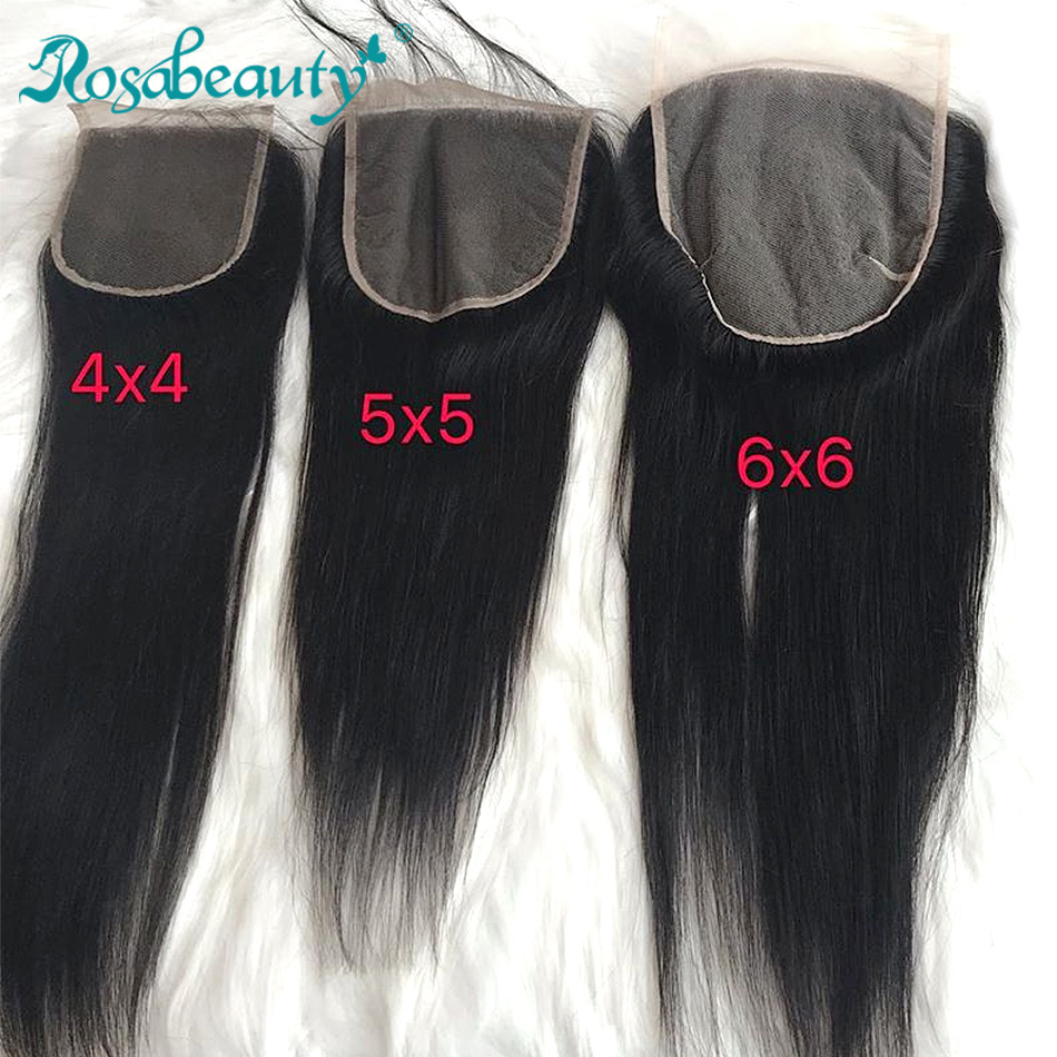 Rosabeauty Straight Hair Lace Closure 6x6 Human Virgin Hair Closure With Baby Hair Middle/Free/3 Part Shipping Free