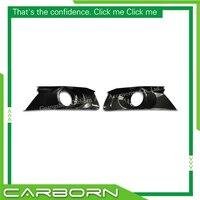 For Ford Mustang 2015 2016 2017 2018 Gloss Black Carbon Fiber Fog Light Cover