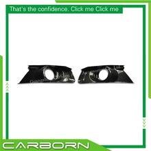 For Ford Mustang 2015 2016 2017 2018 Gloss Black Carbon Fiber Fog Light Cover цены онлайн