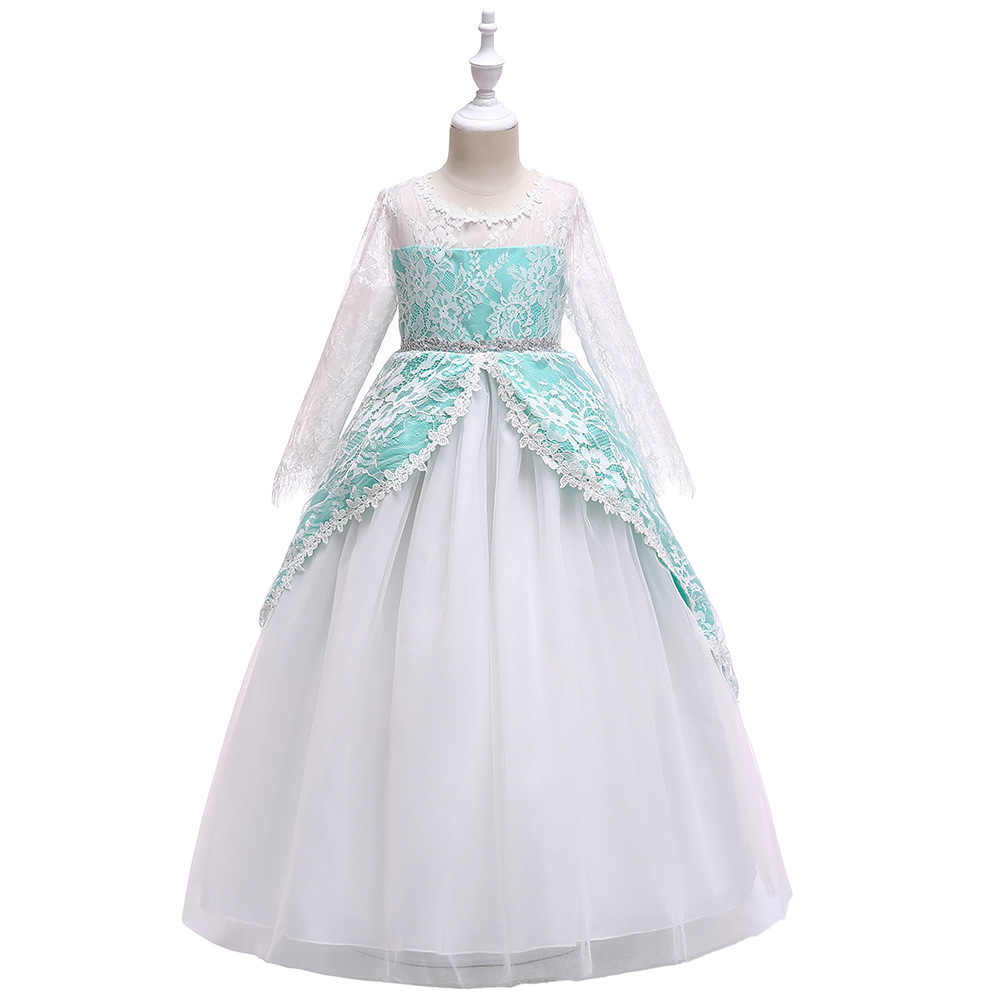 2019   Girls   Pleated Mesh Cutout Back   Flower     Girl     Dress   Floor-Length 3/4 Sleeves Wedding Party   Dress