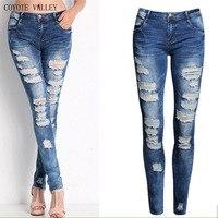 COYOTE TAL 2017 heiße art feinen elastischen jeans frauen baumwolle loch in bleistift und füße hohe qualität jeans hohe taille jeans