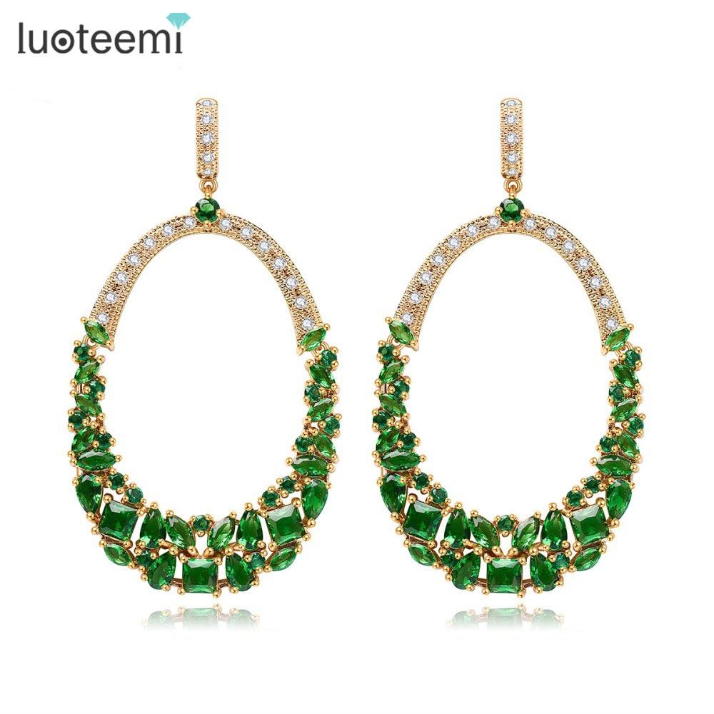 LUOTEEMI New Dazzling Bohemia Statement Big Oval Dangle Drop Earrings for  Women Green CZ Crystal Jewelry   Accessories 1e366418ded0
