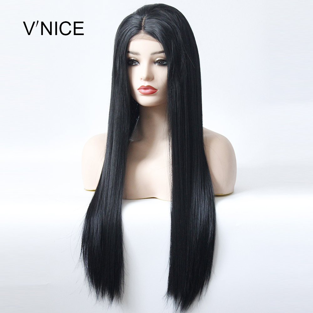 V'NICE ロングストレート黒かつら中間部分高温繊維ブラジル髪合成レースフロント毛かつら  グループ上の ヘアエクステンション & ウィッグ からの 人工レースウィッグ の中 1