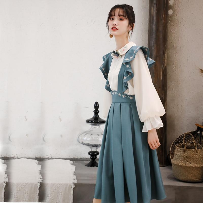 2019 New Fashion Women's Two Piece Set France Retro Blouse+ Strap Dress Female