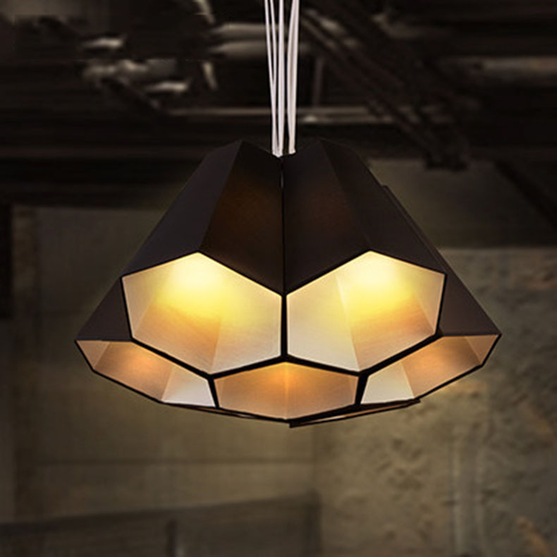 Nordic minimalist pendant light fabric shade hexagon shade ...