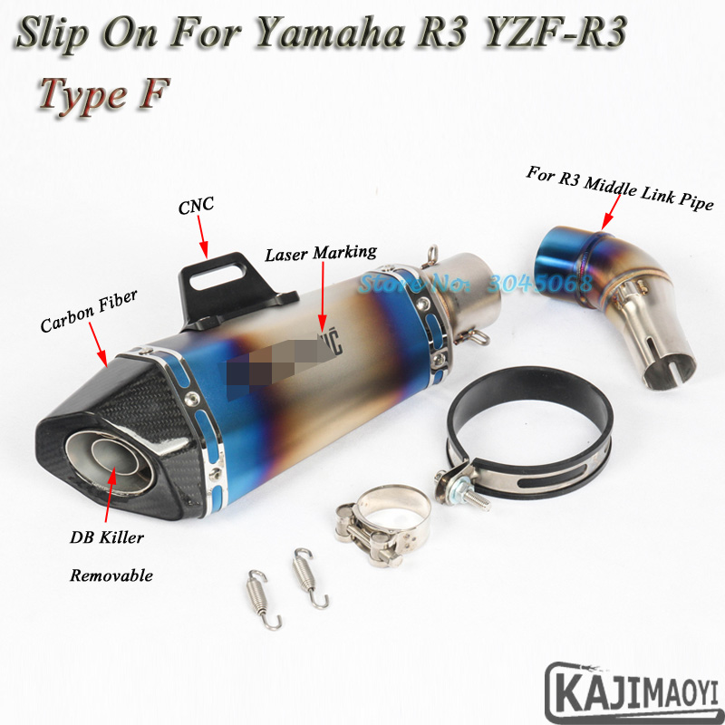R3 Motorcycle Full System Exhaust Motorbike Laser Muffler Modified Front Middle Link Pipe Slip On For Yamaha R25 YZF-R3 R30 цена