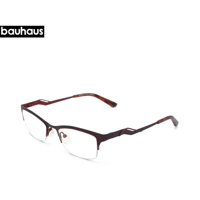 740d6e2055 bauhaus Brand New spectacle eyeglasses Special legs Metal Half rim optical frames  eyewear for women Prescription Myopia glasses-in Eyewear Frames from ...