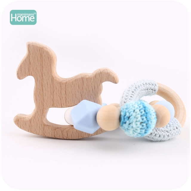 MamimamiHome 2pc Baby Rattle Beech Horse Wood Teething Crochet Beads Bracelets Montessori Toys For Children Baby Crochet Toys 3