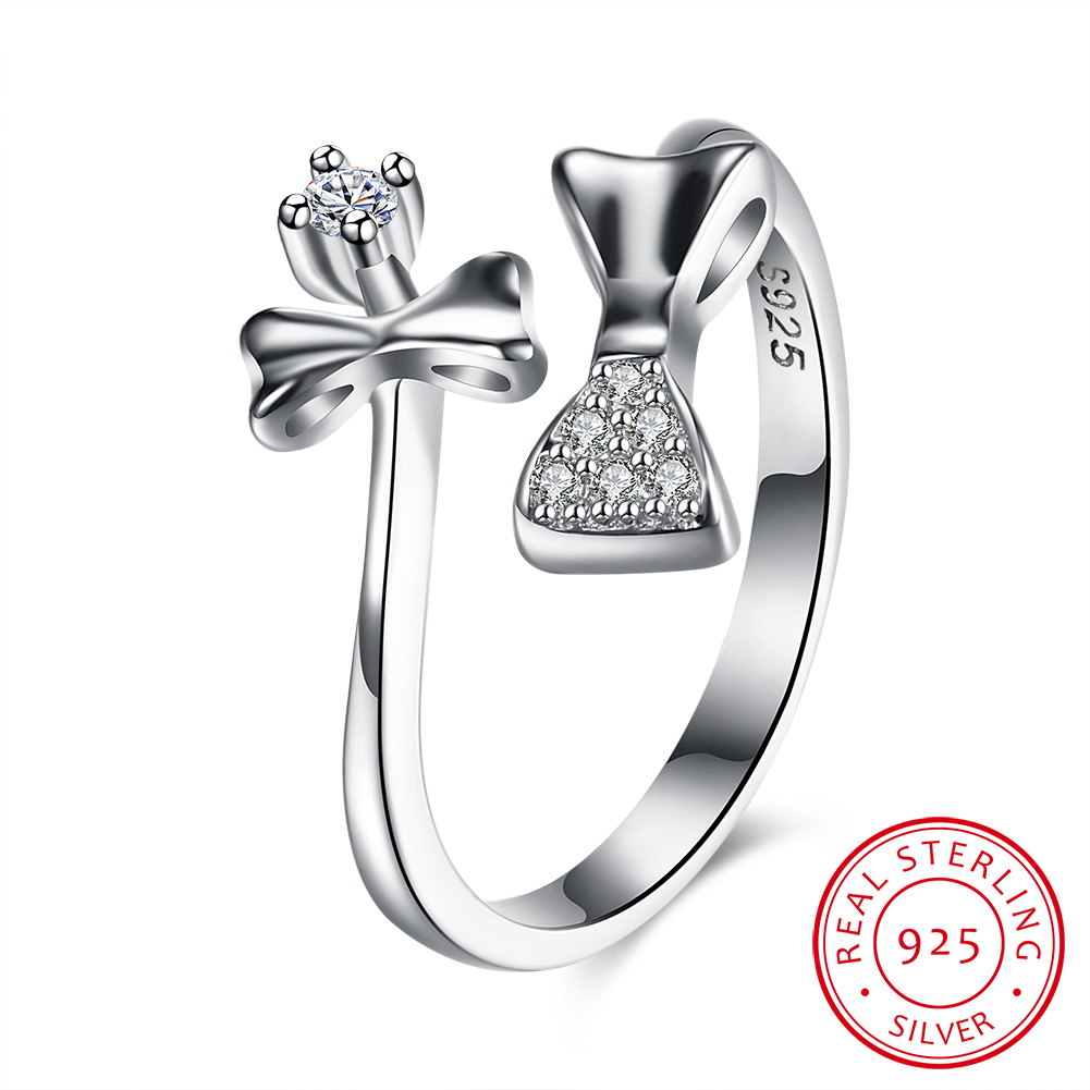 Women Rings Adjustable Bowknot 925 Sterling Silver Ring Cubic Zircon Silver  Jewelry Wholesale Costume Jewelery (