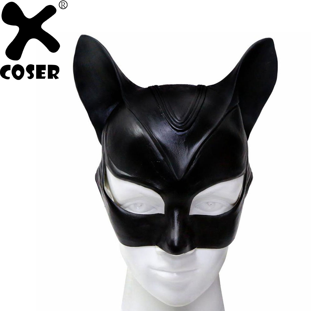 XCOSER 2019 New Arrival Sexy Catwoman Cosplay Mask Batman The Dark Knight Half Face Latex Masks Women Halloween Cosplay Props