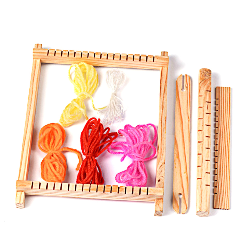 Pandahall 1 Set Girls Kids Child Wood Knitting Weaving Looms Wooden Toy with Yarns Warp Combs Shuttles for DIY Handmade Craft