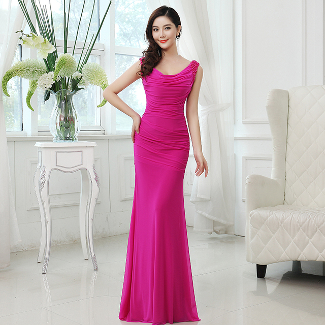 2017 Sexy Slim cut Long Rose Peacock Blue Dresses for Wedding Party ...