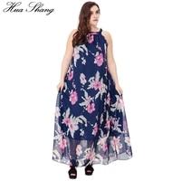 Hua Shang Women Summer Long Bohemian Beach Dress Halter Neck Sleeveless Tunic Sundress Loose Plus Size