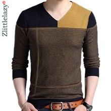 Новинка, дизайнерский пуловер в стиле пэчворк, мужской свитер, мужские трикотажные свитера, Мужская одежда, облегающая Вязанная одежда, модная одежда 3129