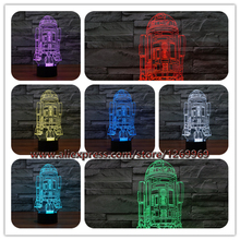 2017 3D USB 7 Colors LED Table lamp Star Wars Warship R2-D2 Robot Storm Trooper Rocket Model Touch Night Light in Bedroom Decor