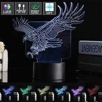 צבעוני נשר מעופף בעלי חיים בצורת כפתור בורר LED לילה אור 3D עיצוב בית בר קפה מנורת שולחן קבלה כוח USB מתנות