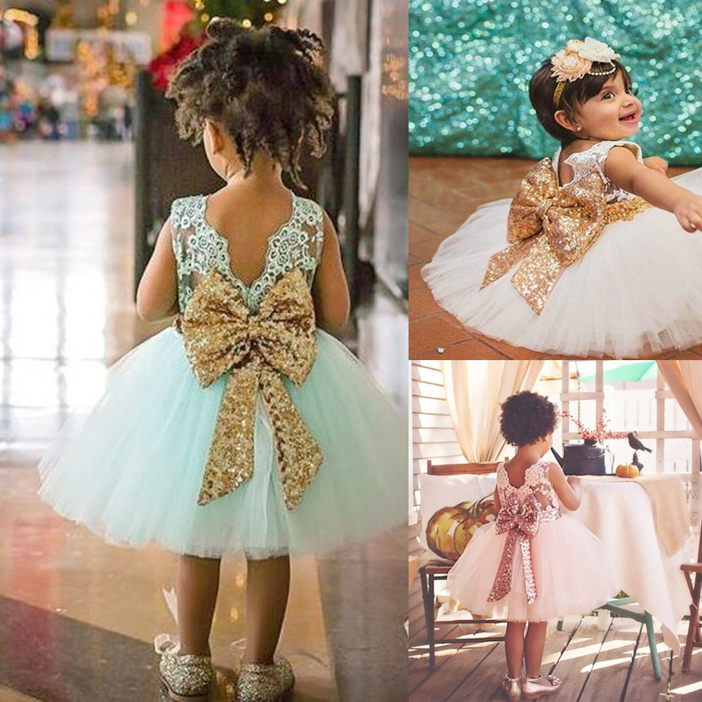 New Baby Girls Dress Kids Bow Golden Sequined Girls Party Dress Bathday Lace Girl Mesh Dress
