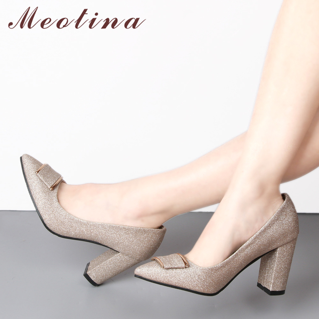 Meotina Women Pumps High Heels Party Shoes Pointed Toe Thick Heel Elegant Shoes Purple Bridal Wedding Shoes 2018 New Size 33-43