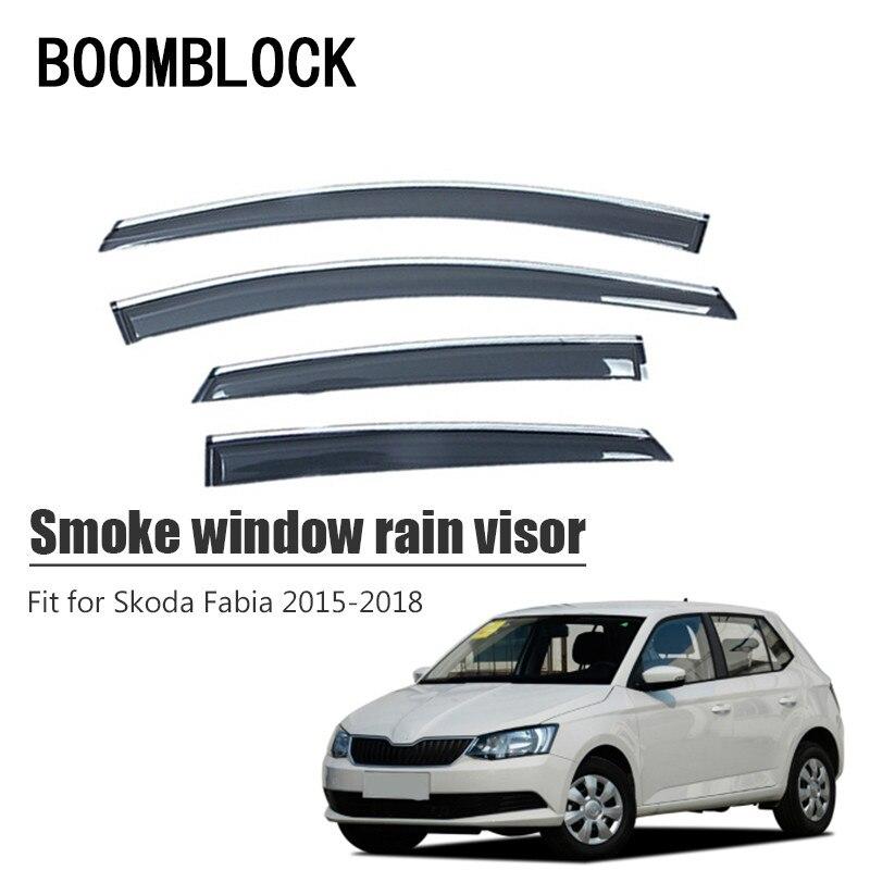 High Quality 4pcs Smoke Window Rain Visor For Skoda Fabia 2018 2017 2016 2015 Styling Vent