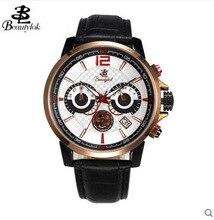 Beautylok Men's Watch Swiss Movement Fashion Leather Quartz Watch Calendar Men's 3 Sport Chronograph Fashion Watches