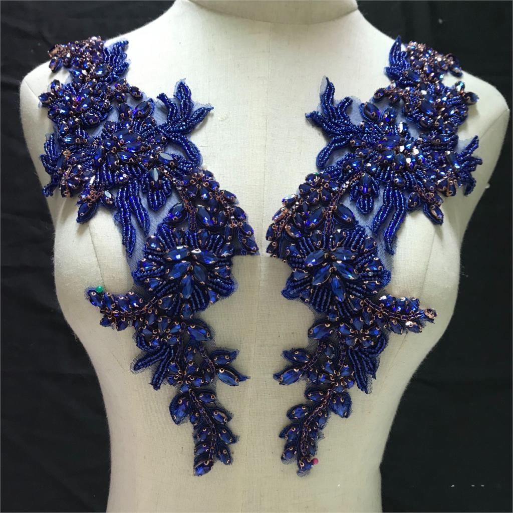 Ev ve Bahçe'ten Yamalar'de 2 adet 15*36cm dikmek rhinestones dantel aplike Kraliyet mavi trim elbise için yamalar düğün elbisesi DIY aksesuarları'da  Grup 1