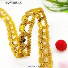 HAWARULU 2yard 2.3cm DIY yellow crown sequins Ribbon Dance clothing Accessories Christmas Hallowmas festive stage wedding fabric