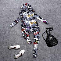 Track Suit Cool Rock Spring Autumn Women Casual Tracksuits Camouflage Print Hoodies Hooded And Harem Pants Clothing Set NS291