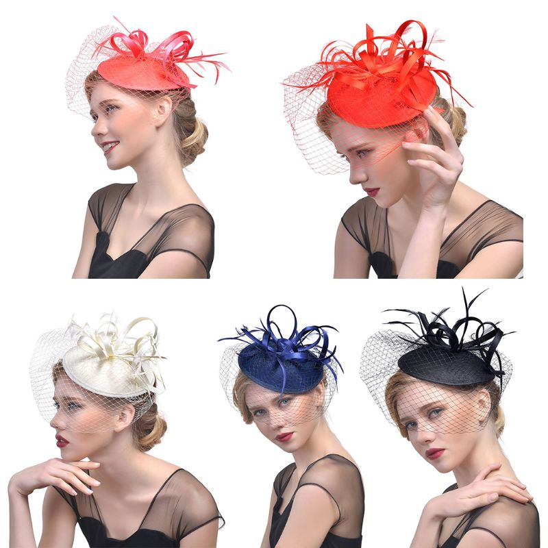 Womens Vintage Tea Party Fascinators Pillbox Hat Solid Color Half Face Cover Mesh Veil Banquet Wedding Party Duckbill Hair Clips