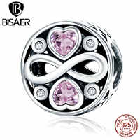 Hot Sale 925 Sterling Silver Pink Heart Crystals, Endless Love Beads & Charms Fit Original BISAER Necklace & Bracelet ECC240