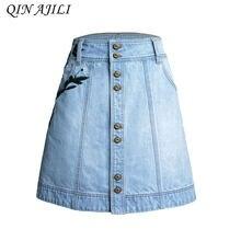 bb1e903094 QIN AJILI para cintura alta Mujer Denim Falda de línea Mini faldas de verano  botón bolsillo azul Jean Embrioidery Mujer falda