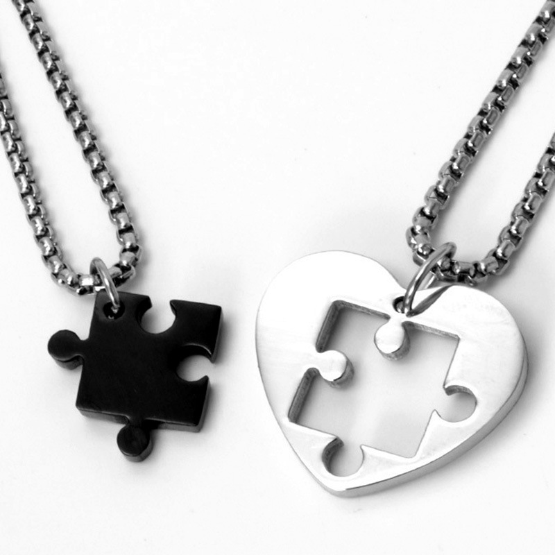 2pcs/sets Two Half Couples Necklace for Lovers Stainless Ste