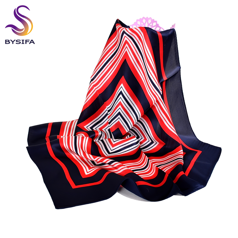 BYSIFA Navy Blue Small Square Scarves Women New Red Striped Silk Scarf Spring Autumn Winter Fashion 100% Silk Scarf Neck Scarf