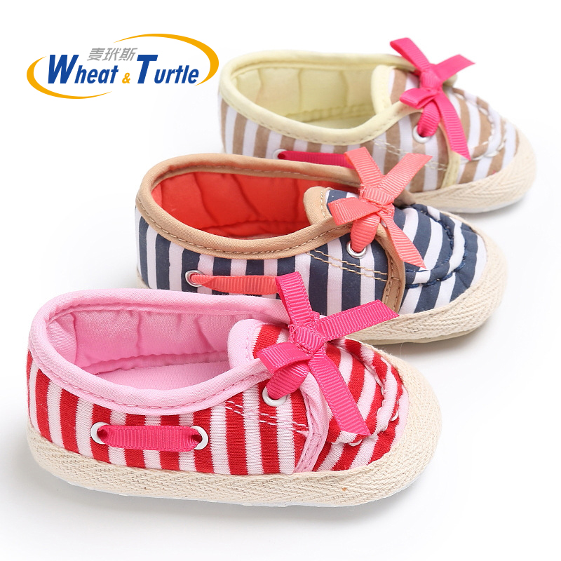 Mother Kids Baby Shoes First Walkers For Baby Striped Baby Girl Boy Spring First Walkers Soft Sole Toddler Baby Shoes with Bow