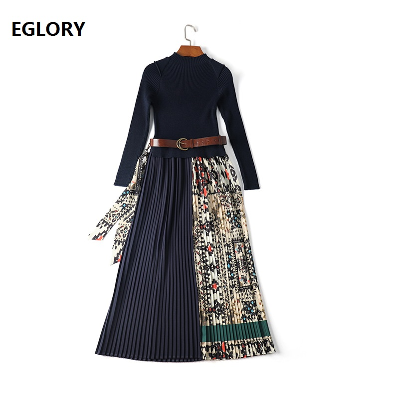 High Quality Dress for Women Vintage Print Knitted Patchwork Long Sleeve Mid Calf Length Casual Long Sweater Dress Vestidos 2019